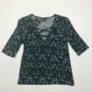 TopShop Lace Up Front Floral Top 3/4 Sleeve Blouse